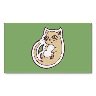 Cat On Its Back Cute White Belly Drawing Design Business Card Magnet