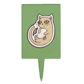 Cat On Its Back Cute White Belly Drawing Design Cake Topper
