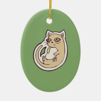 Cat On Its Back Cute White Belly Drawing Design Ceramic Ornament