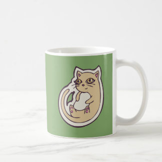 Cat On Its Back Cute White Belly Drawing Design Coffee Mug