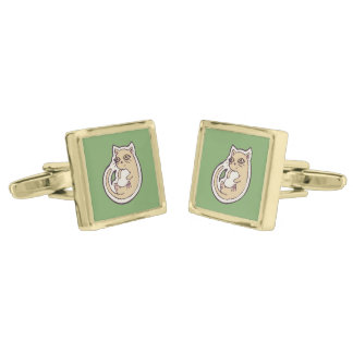 Cat On Its Back Cute White Belly Drawing Design Cufflinks