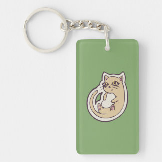 Cat On Its Back Cute White Belly Drawing Design Double-Sided Rectangular Acrylic Keychain