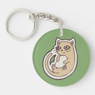 Cat On Its Back Cute White Belly Drawing Design Double-Sided Round Acrylic Keychain