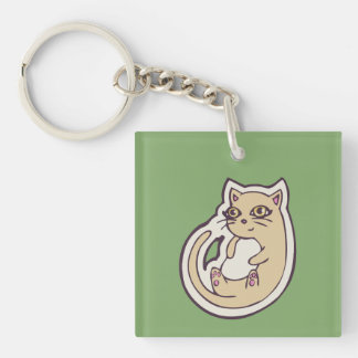 Cat On Its Back Cute White Belly Drawing Design Double-Sided Square Acrylic Keychain