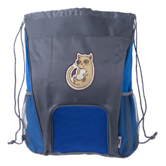 Cat On Its Back Cute White Belly Drawing Design Drawstring Backpack