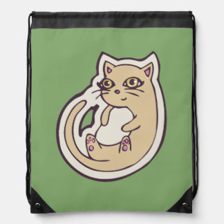 Cat On Its Back Cute White Belly Drawing Design Drawstring Bag