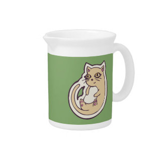 Cat On Its Back Cute White Belly Drawing Design Drink Pitcher