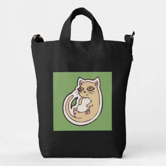 Cat On Its Back Cute White Belly Drawing Design Duck Bag