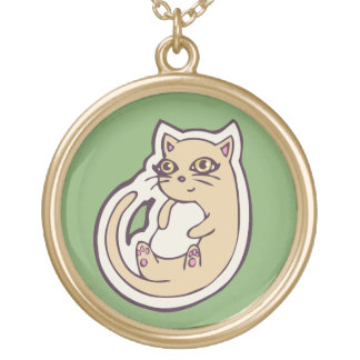 Cat On Its Back Cute White Belly Drawing Design Gold Plated Necklace