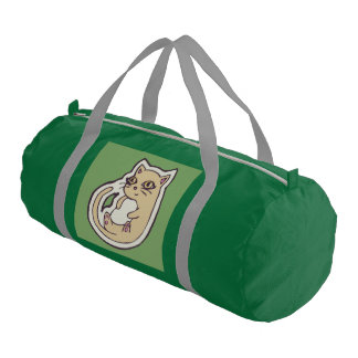 Cat On Its Back Cute White Belly Drawing Design Gym Bag