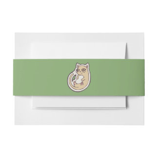 Cat On Its Back Cute White Belly Drawing Design Invitation Belly Band