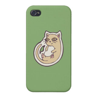 Cat On Its Back Cute White Belly Drawing Design iPhone 4/4S Cover