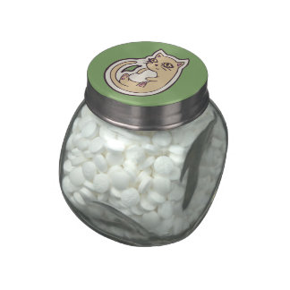 Cat On Its Back Cute White Belly Drawing Design Jelly Belly Candy Jar