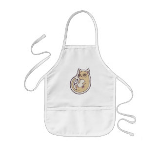 Cat On Its Back Cute White Belly Drawing Design Kids' Apron