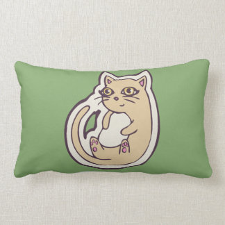 Cat On Its Back Cute White Belly Drawing Design Lumbar Pillow