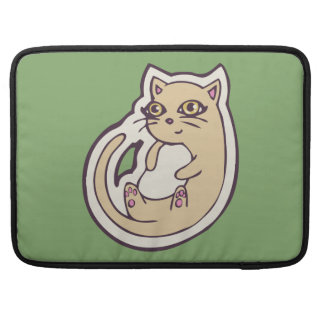 Cat On Its Back Cute White Belly Drawing Design MacBook Pro Sleeve