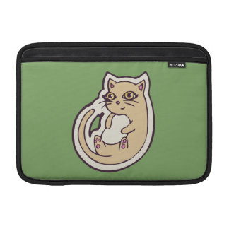 Cat On Its Back Cute White Belly Drawing Design MacBook Sleeves