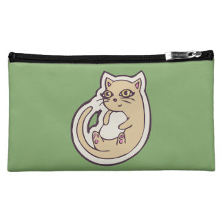 Cat On Its Back Cute White Belly Drawing Design Makeup Bag