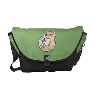 Cat On Its Back Cute White Belly Drawing Design Messenger Bag