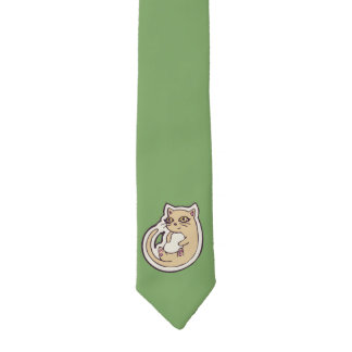 Cat On Its Back Cute White Belly Drawing Design Necktie