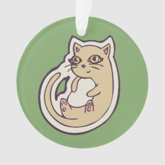 Cat On Its Back Cute White Belly Drawing Design Ornament