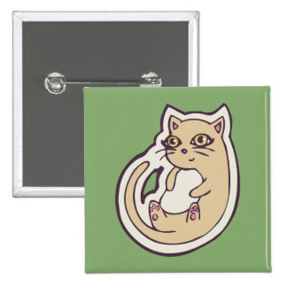 Cat On Its Back Cute White Belly Drawing Design Pinback Button