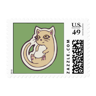Cat On Its Back Cute White Belly Drawing Design Postage