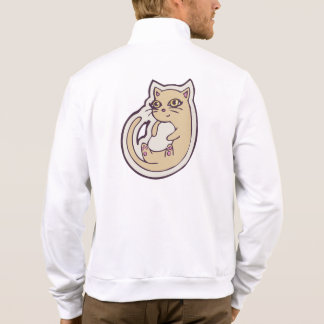 Cat On Its Back Cute White Belly Drawing Design Printed Jacket