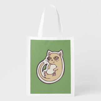 Cat On Its Back Cute White Belly Drawing Design Reusable Grocery Bag
