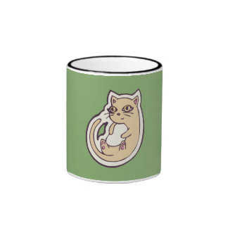Cat On Its Back Cute White Belly Drawing Design Ringer Mug
