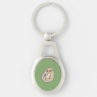 Cat On Its Back Cute White Belly Drawing Design Silver-Colored Oval Metal Keychain