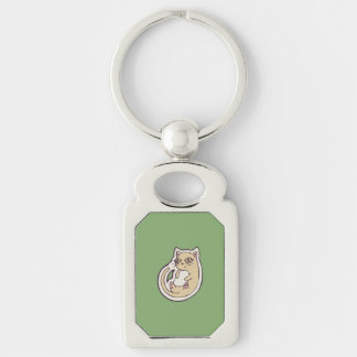 Cat On Its Back Cute White Belly Drawing Design Silver-Colored Rectangular Metal Keychain