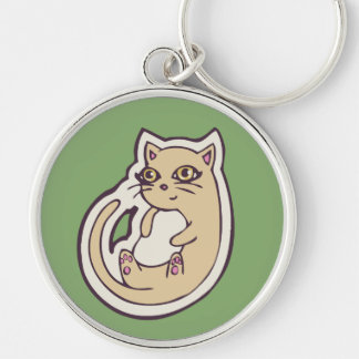 Cat On Its Back Cute White Belly Drawing Design Silver-Colored Round Keychain