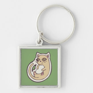 Cat On Its Back Cute White Belly Drawing Design Silver-Colored Square Keychain