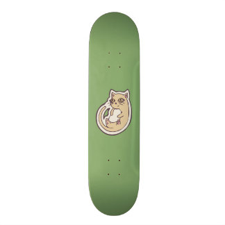 Cat On Its Back Cute White Belly Drawing Design Skateboard Deck