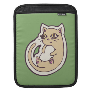 Cat On Its Back Cute White Belly Drawing Design Sleeve For iPads
