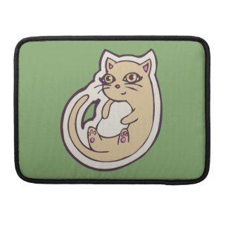 Cat On Its Back Cute White Belly Drawing Design Sleeve For MacBooks