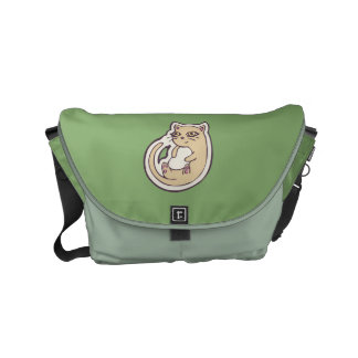 Cat On Its Back Cute White Belly Drawing Design Small Messenger Bag