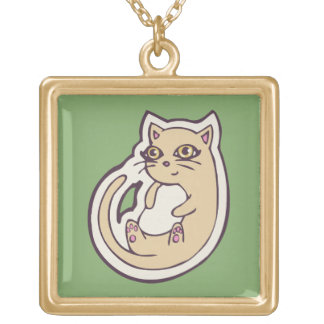 Cat On Its Back Cute White Belly Drawing Design Square Pendant Necklace