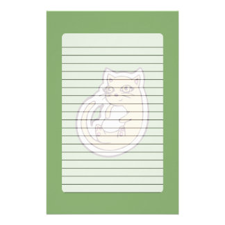 Cat On Its Back Cute White Belly Drawing Design Stationery