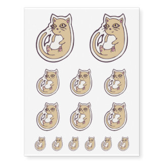 Cat On Its Back Cute White Belly Drawing Design Temporary Tattoos