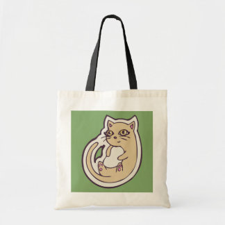 Cat On Its Back Cute White Belly Drawing Design Tote Bag