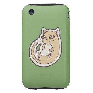 Cat On Its Back Cute White Belly Drawing Design Tough iPhone 3 Cases