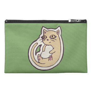 Cat On Its Back Cute White Belly Drawing Design Travel Accessory Bag