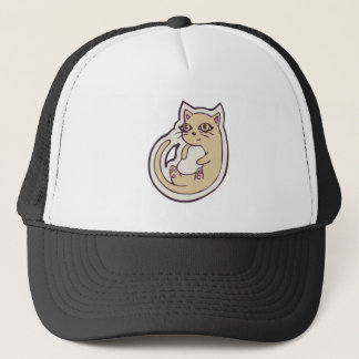 Cat On Its Back Cute White Belly Drawing Design Trucker Hat