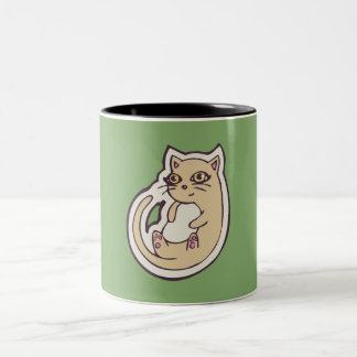 Cat On Its Back Cute White Belly Drawing Design Two-Tone Coffee Mug
