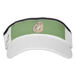 Cat On Its Back Cute White Belly Drawing Design Visor
