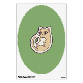 Cat On Its Back Cute White Belly Drawing Design Wall Decal