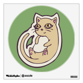 Cat On Its Back Cute White Belly Drawing Design Wall Sticker