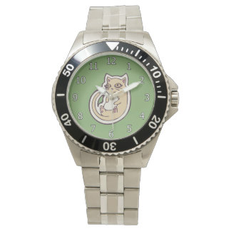 Cat On Its Back Cute White Belly Drawing Design Watch